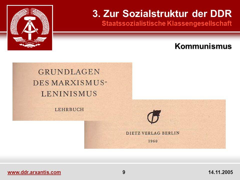 www.ddr.arxantis.com 9 14.11.2005 3. Zur Sozialstruktur der DDR Staatssozialistische Klassengesellschaft Kommunismus
