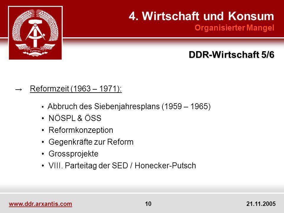 www.ddr.arxantis.com 10 21.11.2005 4. Wirtschaft und Konsum Organisierter Mangel DDR-Wirtschaft 5/6 Reformzeit (1963 – 1971): Abbruch des Siebenjahres