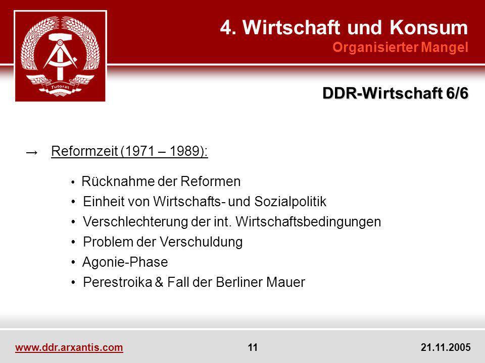 www.ddr.arxantis.com 11 21.11.2005 4. Wirtschaft und Konsum Organisierter Mangel DDR-Wirtschaft 6/6 Reformzeit (1971 – 1989): Rücknahme der Reformen E