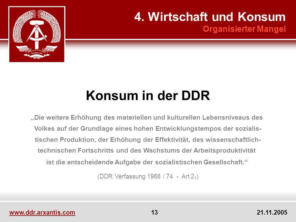 www.ddr.arxantis.com 13 21.11.2005 Konsum in der DDR Die weitere Erhöhung des materiellen und kulturellen Lebensniveaus des Volkes auf der Grundlage e