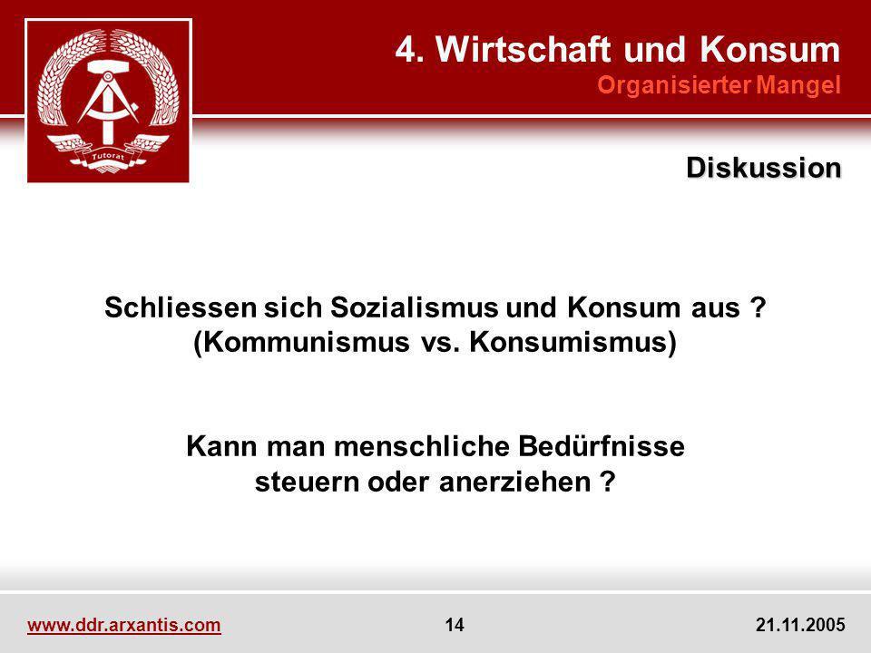 www.ddr.arxantis.com 14 21.11.2005 4. Wirtschaft und Konsum Organisierter Mangel Diskussion Schliessen sich Sozialismus und Konsum aus ? (Kommunismus