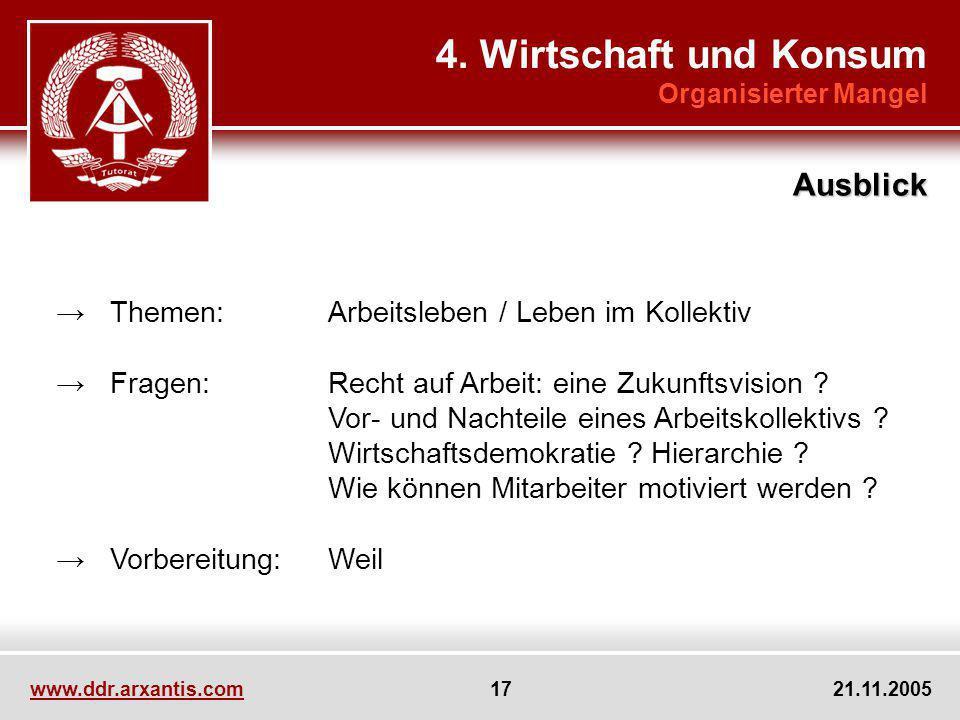 www.ddr.arxantis.com 17 21.11.2005 Themen:Arbeitsleben / Leben im Kollektiv Fragen:Recht auf Arbeit: eine Zukunftsvision ? Vor- und Nachteile eines Ar
