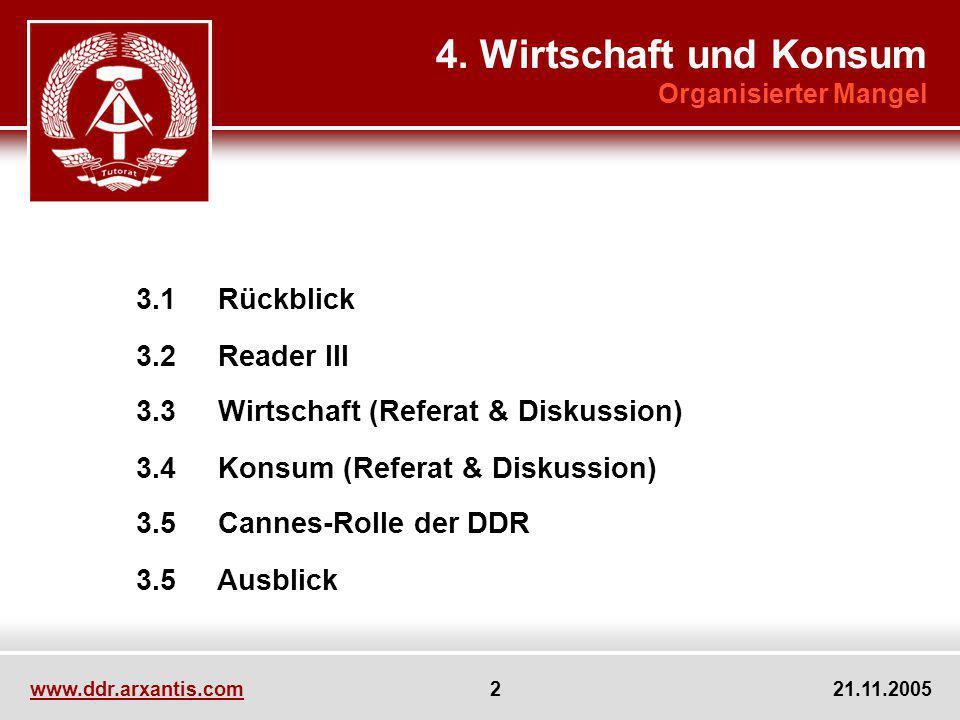 www.ddr.arxantis.com 2 21.11.2005 3.1 Rückblick 3.2 Reader III 3.3 Wirtschaft (Referat & Diskussion) 3.4 Konsum (Referat & Diskussion) 3.5 Cannes-Roll
