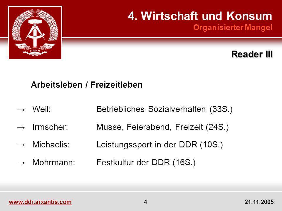 www.ddr.arxantis.com 4 21.11.2005 Arbeitsleben / Freizeitleben Weil:Betriebliches Sozialverhalten (33S.) Irmscher:Musse, Feierabend, Freizeit (24S.) M