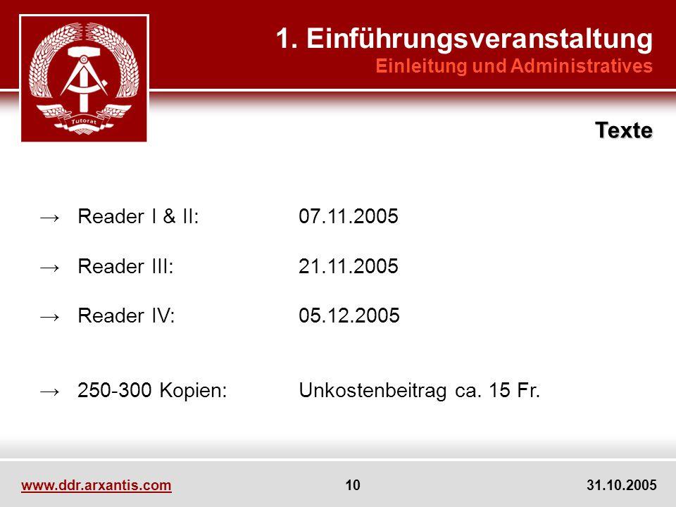 www.ddr.arxantis.com 10 31.10.2005 Reader I & II:07.11.2005 Reader III:21.11.2005 Reader IV:05.12.2005 250-300 Kopien:Unkostenbeitrag ca. 15 Fr. 1. Ei