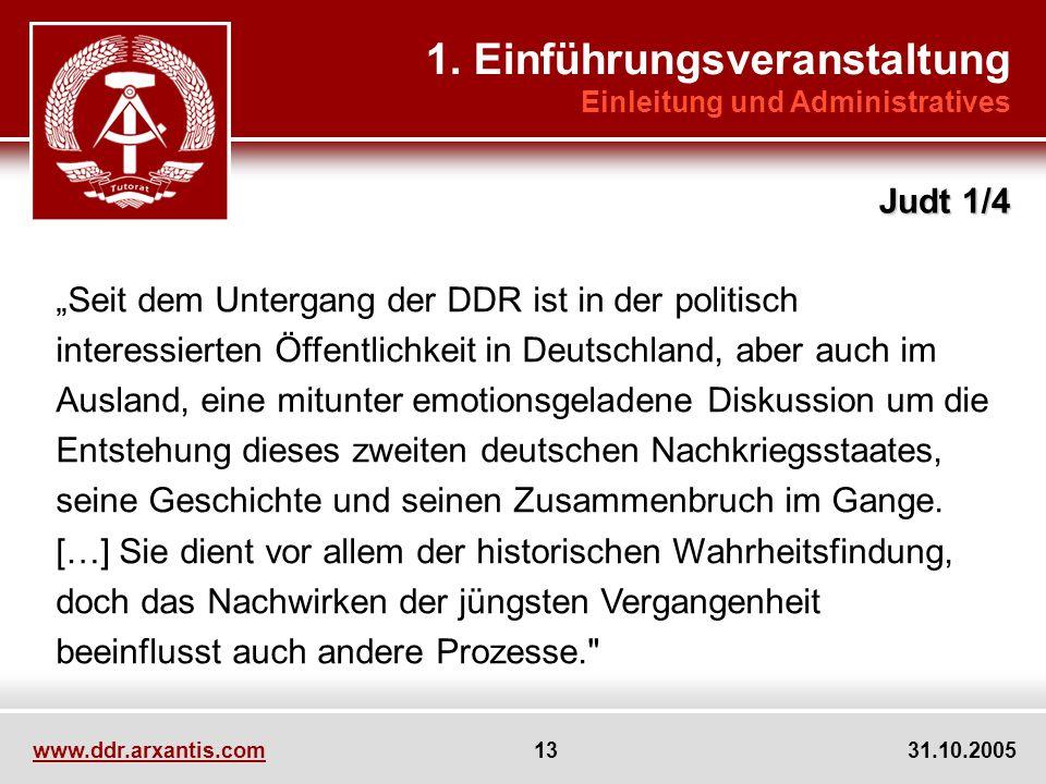 www.ddr.arxantis.com 13 31.10.2005 Seit dem Untergang der DDR ist in der politisch interessierten Öffentlichkeit in Deutschland, aber auch im Ausland, eine mitunter emotionsgeladene Diskussion um die Entstehung dieses zweiten deutschen Nachkriegsstaates, seine Geschichte und seinen Zusammenbruch im Gange.