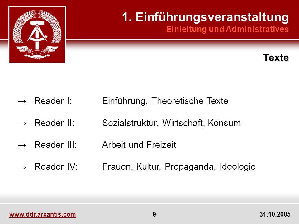 www.ddr.arxantis.com 9 31.10.2005 Reader I:Einführung, Theoretische Texte Reader II:Sozialstruktur, Wirtschaft, Konsum Reader III:Arbeit und Freizeit Reader IV:Frauen, Kultur, Propaganda, Ideologie 1.