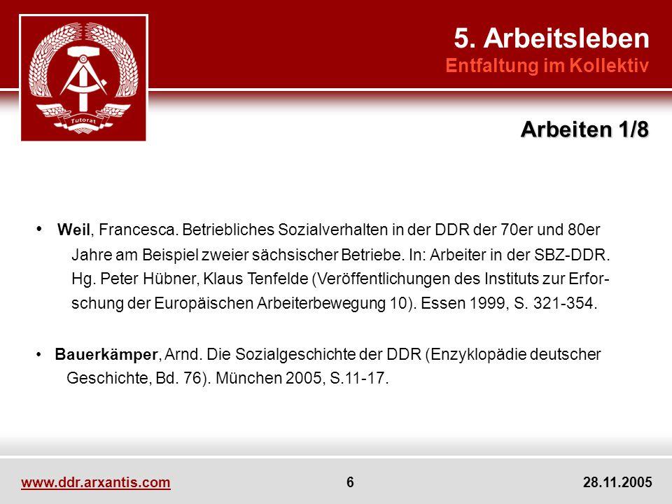 DDR: eine Arbeitsgesellschaft - Stellenwert: Proletarisches Tüchtigkeitsideal Persönlichkeitsentwicklung Wirtschaftlicher Wiederaufbau Status, soziale Differenzierung - Beschäftigungsquote: 1983: 56,3 % Erwerbstätige / Wohnbevölkerung 1989: 91 % der Frauen erwerbstätig 5.