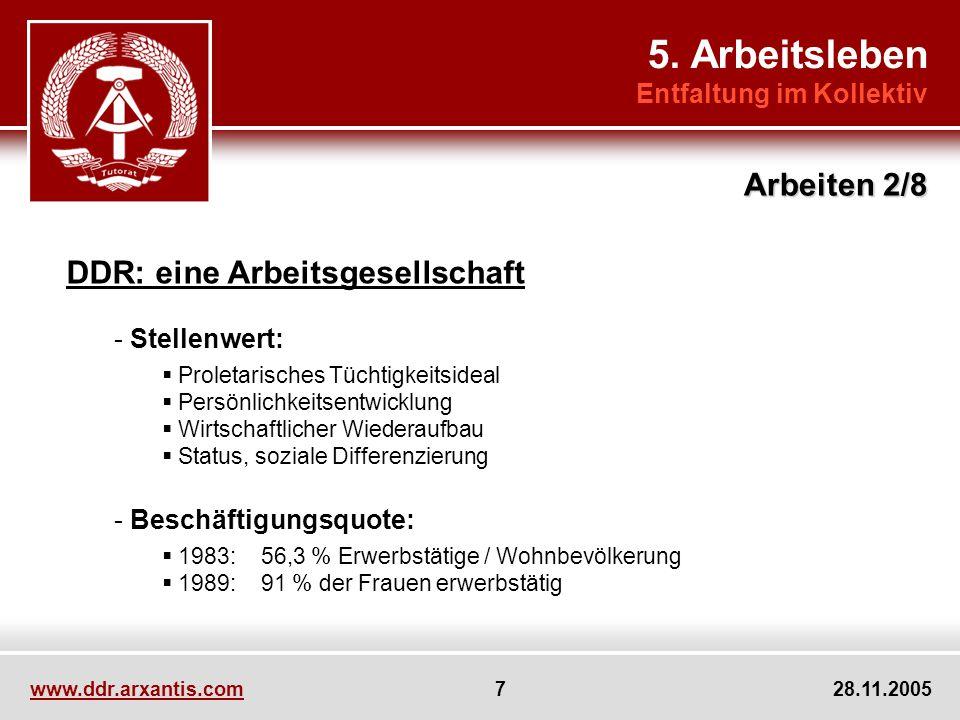 www.ddr.arxantis.com 18 28.11.2005 Themen:Freizeitleben Fragen:Dichotomie zwischen Arbeit und Freizeit Sinnvolle Freizeitbeschäftigungen Verantwortung des Staates Vorbereitung:Irmscher, Michaelis, Mohrmann 5.