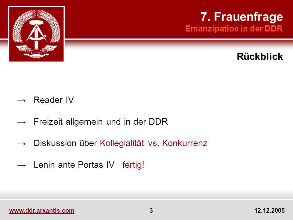 www.ddr.arxantis.com 3 12.12.2005 Reader IV Freizeit allgemein und in der DDR Diskussion über Kollegialität vs. Konkurrenz Lenin ante Portas IV fertig