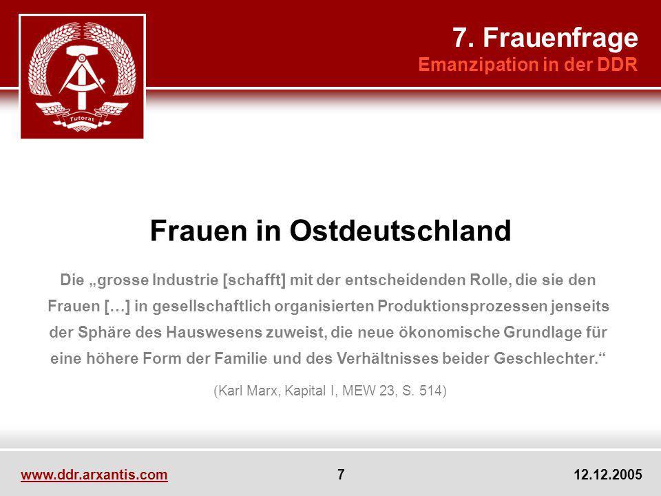 www.ddr.arxantis.com 7 12.12.2005 Frauen in Ostdeutschland Die grosse Industrie [schafft] mit der entscheidenden Rolle, die sie den Frauen […] in gese