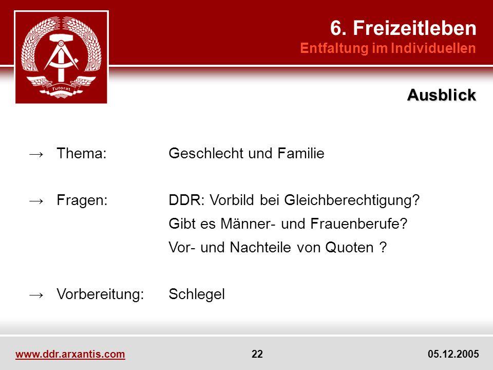 www.ddr.arxantis.com 22 05.12.2005 Thema:Geschlecht und Familie Fragen:DDR: Vorbild bei Gleichberechtigung.