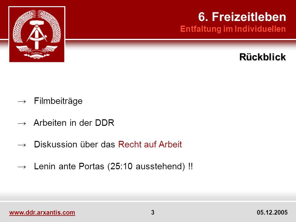 www.ddr.arxantis.com 3 05.12.2005 Filmbeiträge Arbeiten in der DDR Diskussion über das Recht auf Arbeit Lenin ante Portas (25:10 ausstehend) !.