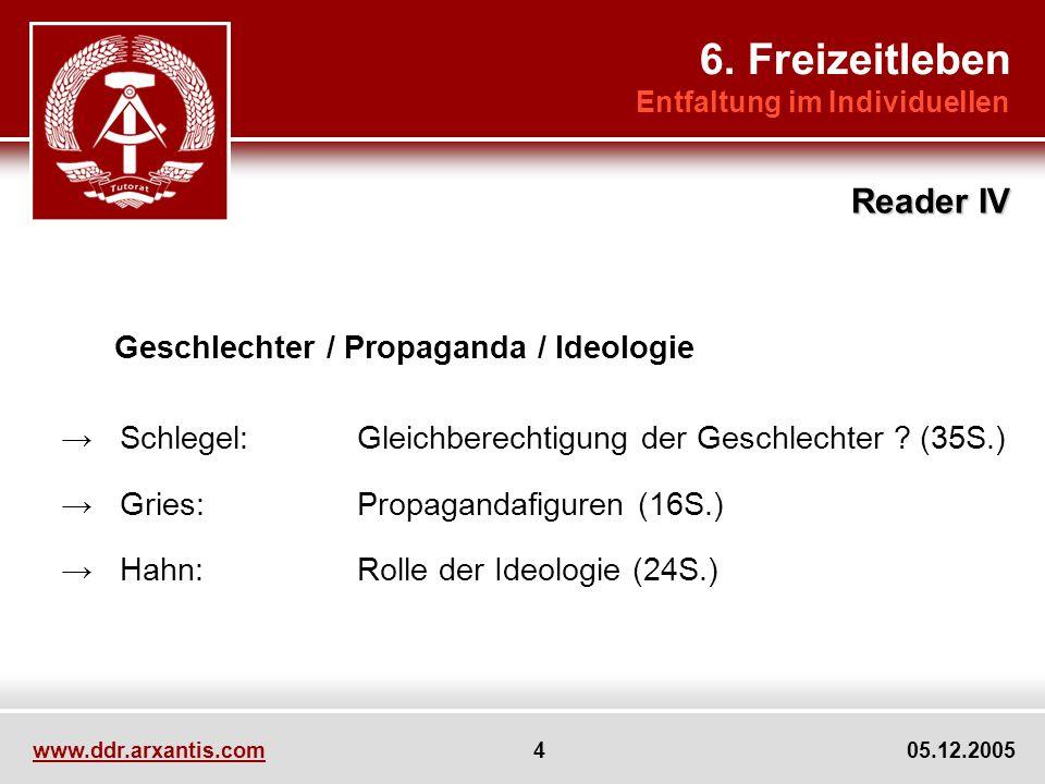 www.ddr.arxantis.com 4 05.12.2005 Geschlechter / Propaganda / Ideologie Schlegel:Gleichberechtigung der Geschlechter .
