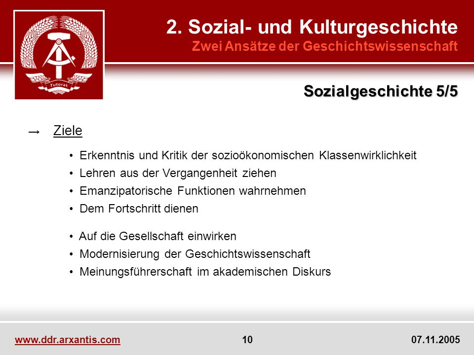 www.ddr.arxantis.com 10 07.11.2005 2. Sozial- und Kulturgeschichte Zwei Ansätze der Geschichtswissenschaft Ziele Erkenntnis und Kritik der sozioökonom