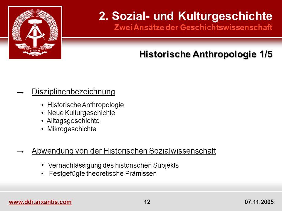 www.ddr.arxantis.com 12 07.11.2005 2. Sozial- und Kulturgeschichte Zwei Ansätze der Geschichtswissenschaft Disziplinenbezeichnung Historische Anthropo