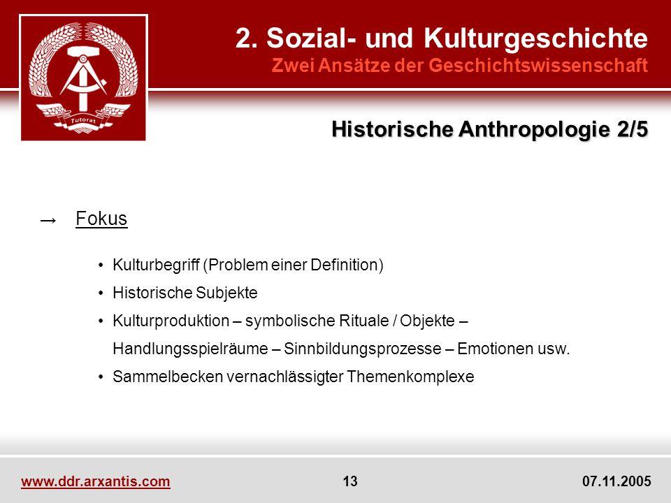 2. Sozial- und Kulturgeschichte Zwei Ansätze der Geschichtswissenschaft Fokus Kulturbegriff (Problem einer Definition) Historische Subjekte Kulturprod