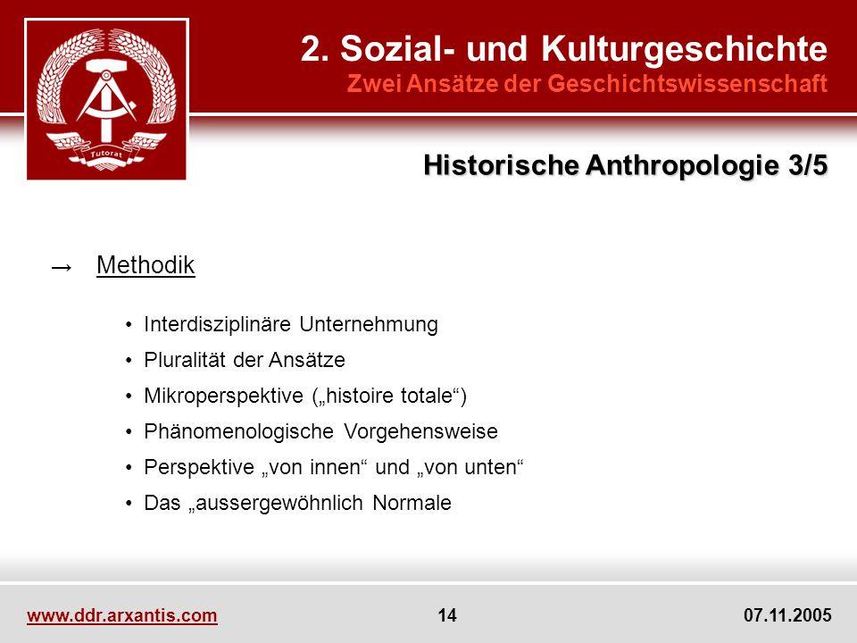 2. Sozial- und Kulturgeschichte Zwei Ansätze der Geschichtswissenschaft Methodik Interdisziplinäre Unternehmung Pluralität der Ansätze Mikroperspektiv