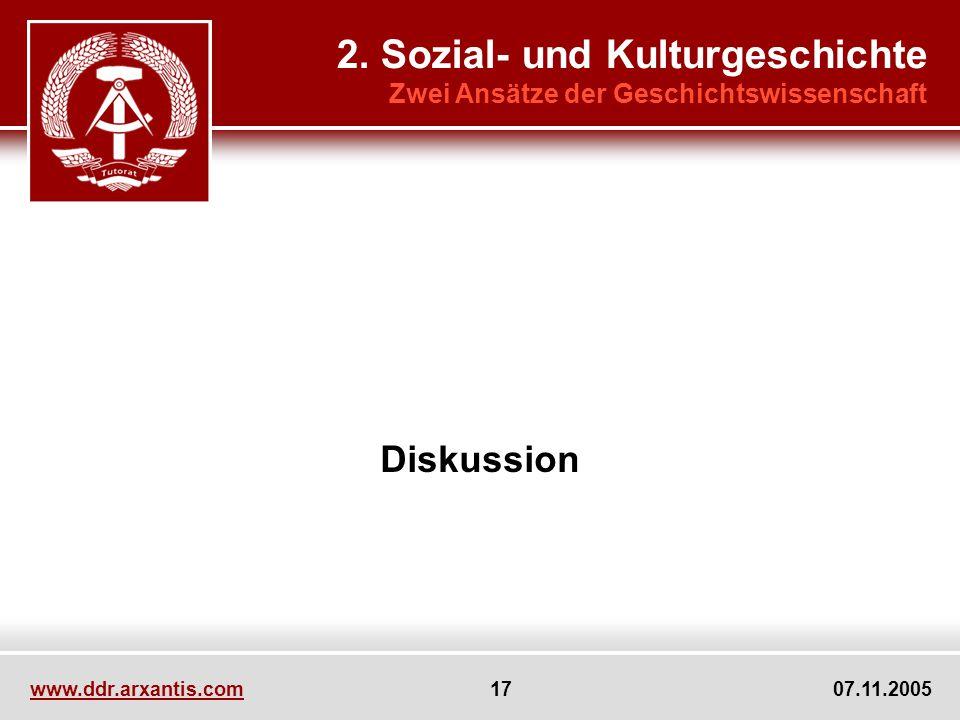 www.ddr.arxantis.com 17 07.11.2005 Diskussion 2. Sozial- und Kulturgeschichte Zwei Ansätze der Geschichtswissenschaft