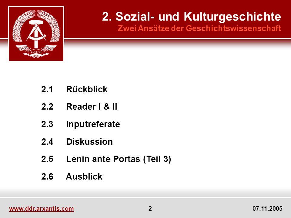 www.ddr.arxantis.com 2 07.11.2005 2.1 Rückblick 2.2 Reader I & II 2.3 Inputreferate 2.4 Diskussion 2.5 Lenin ante Portas (Teil 3) 2.6 Ausblick 2. Sozi