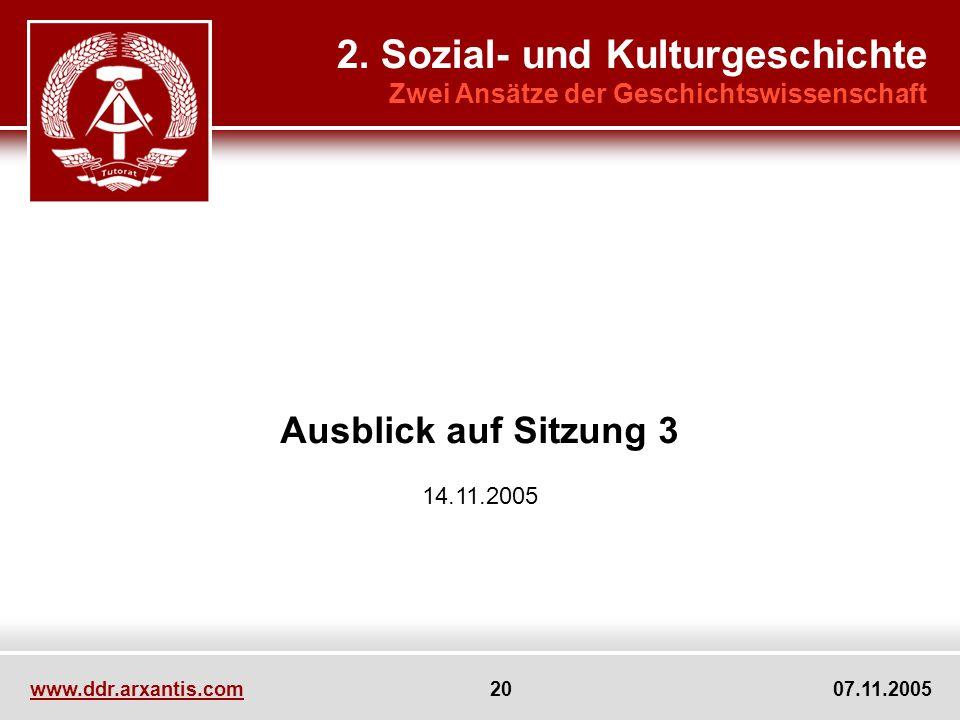 www.ddr.arxantis.com 20 07.11.2005 Ausblick auf Sitzung 3 14.11.2005 2. Sozial- und Kulturgeschichte Zwei Ansätze der Geschichtswissenschaft