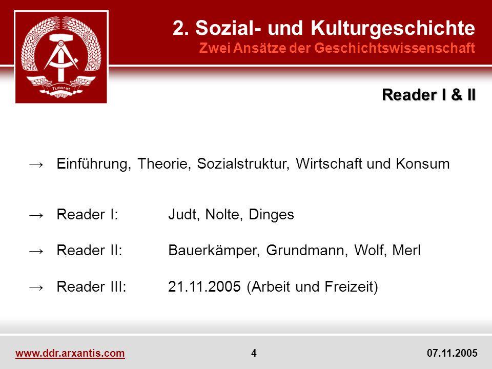 www.ddr.arxantis.com 4 07.11.2005 Einführung, Theorie, Sozialstruktur, Wirtschaft und Konsum Reader I:Judt, Nolte, Dinges Reader II:Bauerkämper, Grund