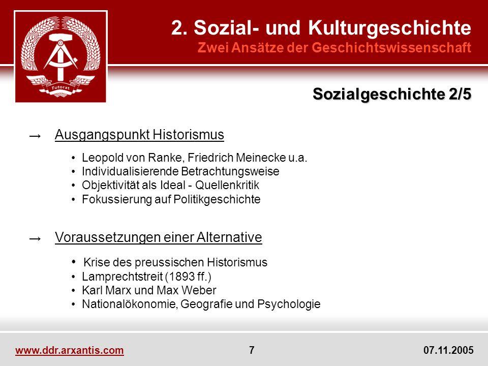 www.ddr.arxantis.com 7 07.11.2005 2. Sozial- und Kulturgeschichte Zwei Ansätze der Geschichtswissenschaft Ausgangspunkt Historismus Leopold von Ranke,