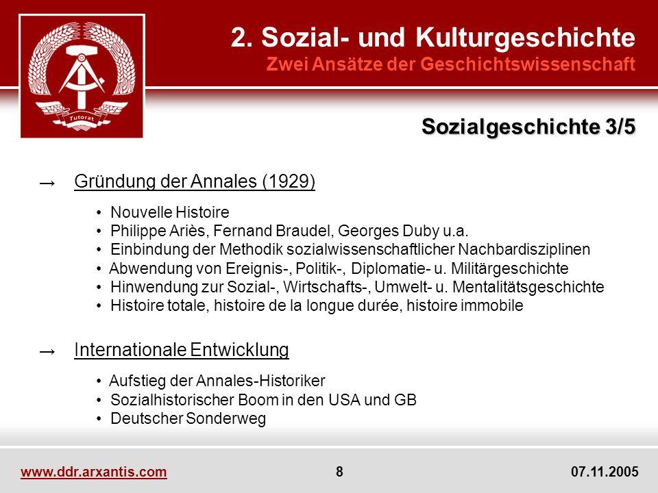 www.ddr.arxantis.com 8 07.11.2005 2. Sozial- und Kulturgeschichte Zwei Ansätze der Geschichtswissenschaft Gründung der Annales (1929) Nouvelle Histoir