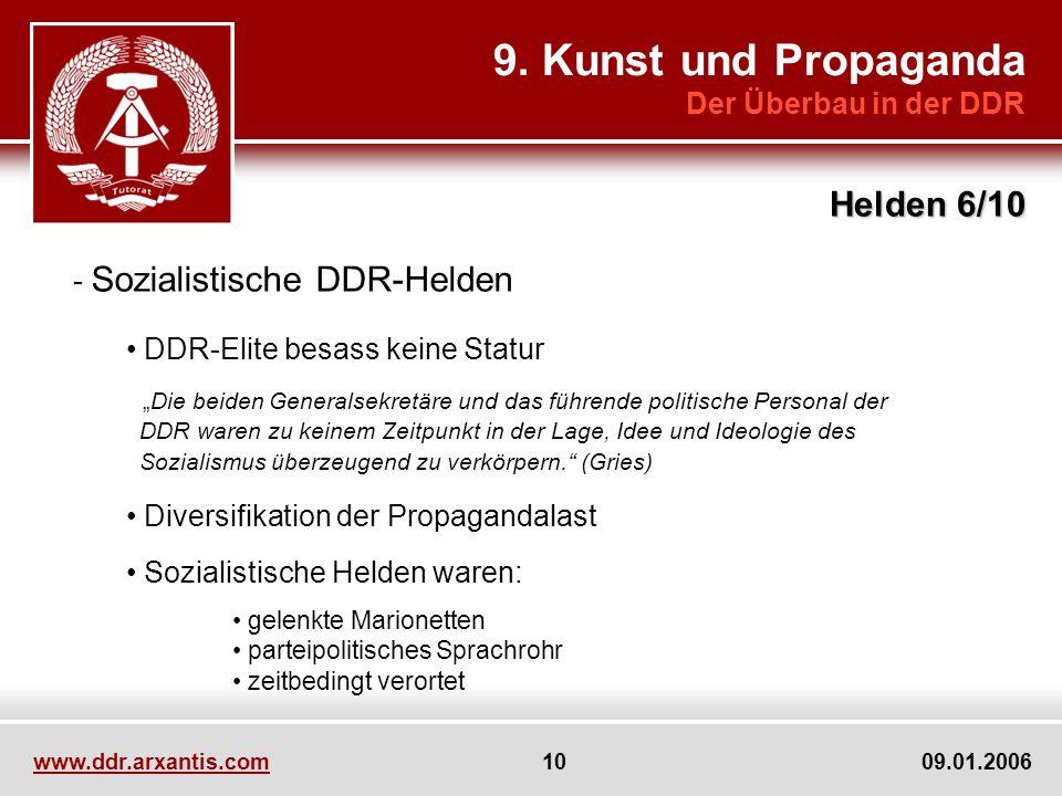 www.ddr.arxantis.com 10 09.01.2006 9. Kunst und Propaganda Der Überbau in der DDR Helden 6/10 - Sozialistische DDR-Helden DDR-Elite besass keine Statu