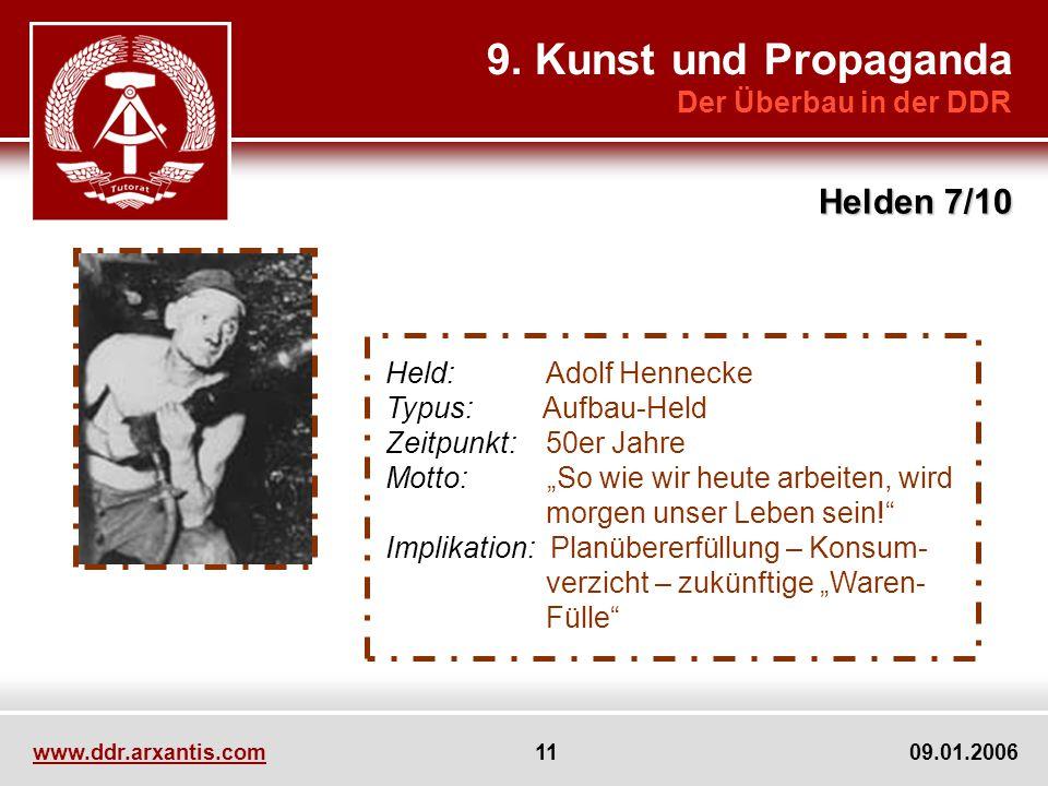 www.ddr.arxantis.com 11 09.01.2006 9. Kunst und Propaganda Der Überbau in der DDR Helden 7/10 Held: Adolf Hennecke Typus: Aufbau-Held Zeitpunkt: 50er