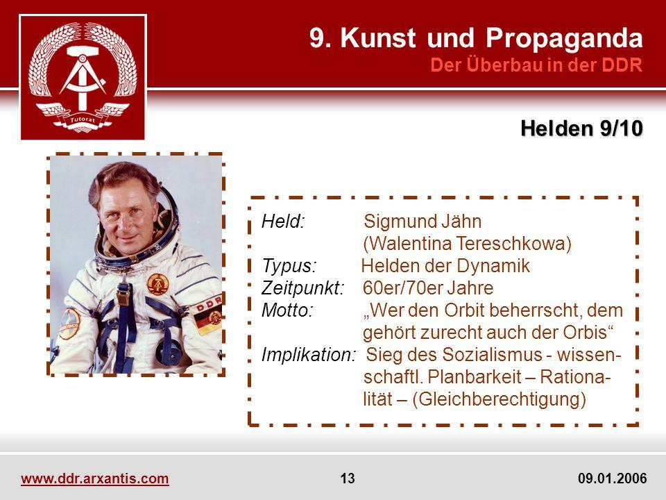 www.ddr.arxantis.com 13 09.01.2006 9. Kunst und Propaganda Der Überbau in der DDR Helden 9/10 Held: Sigmund Jähn (Walentina Tereschkowa) Typus: Helden