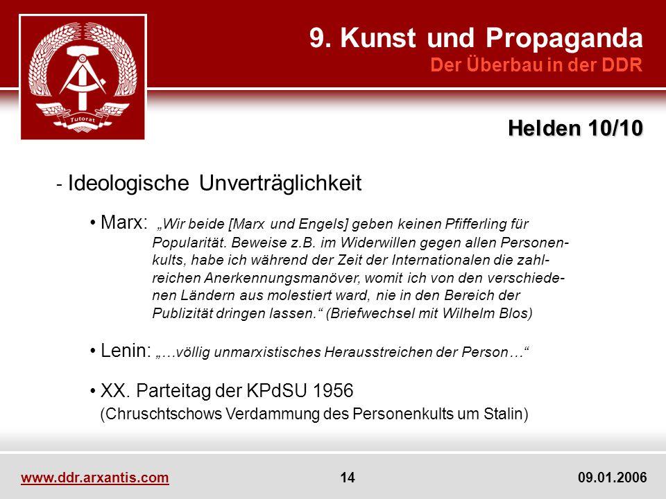 www.ddr.arxantis.com 14 09.01.2006 9. Kunst und Propaganda Der Überbau in der DDR Helden 10/10 - Ideologische Unverträglichkeit Marx: Wir beide [Marx