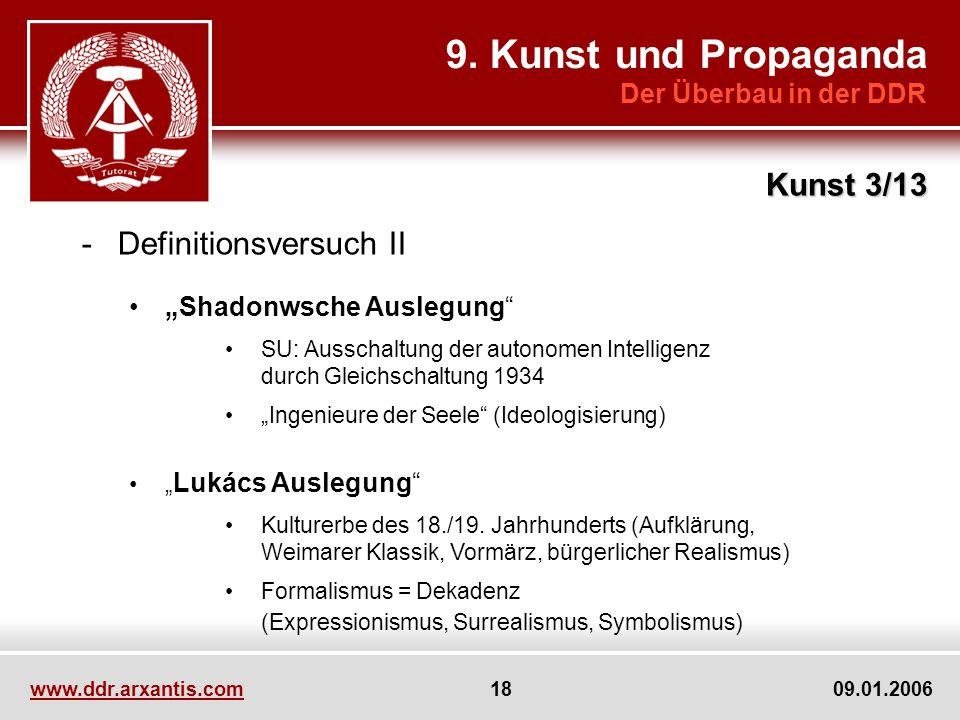 www.ddr.arxantis.com 18 09.01.2006 9. Kunst und Propaganda Der Überbau in der DDR Kunst 3/13 -Definitionsversuch II Shadonwsche Auslegung SU: Ausschal