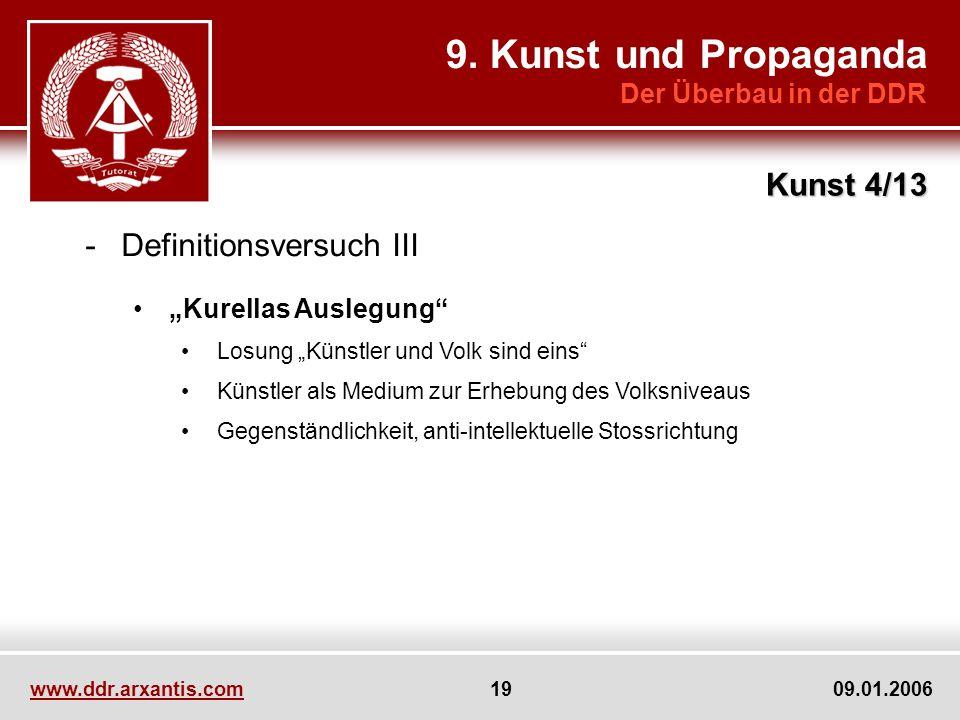 www.ddr.arxantis.com 19 09.01.2006 9. Kunst und Propaganda Der Überbau in der DDR Kunst 4/13 -Definitionsversuch III Kurellas Auslegung Losung Künstle