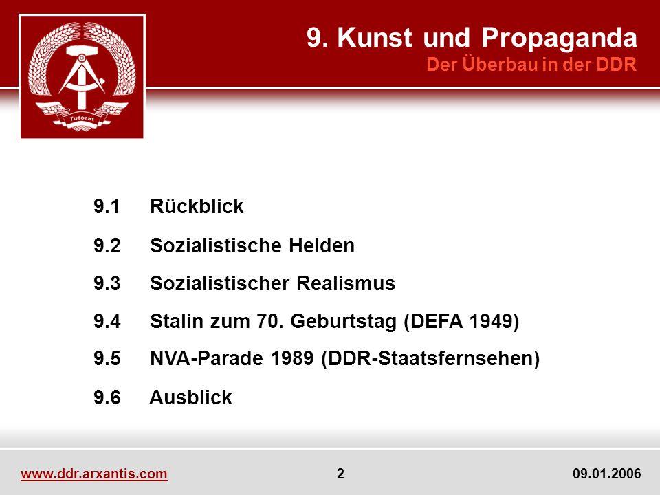 www.ddr.arxantis.com 2 09.01.2006 9.1 Rückblick 9.2 Sozialistische Helden 9.3 Sozialistischer Realismus 9.4 Stalin zum 70. Geburtstag (DEFA 1949) 9.5