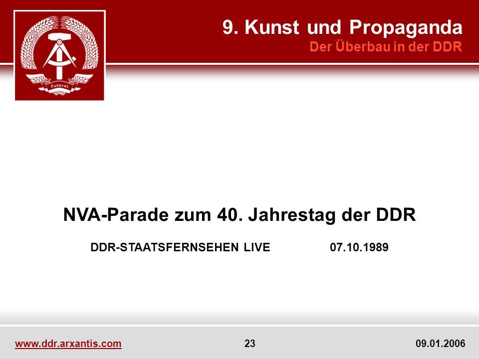 www.ddr.arxantis.com 23 09.01.2006 NVA-Parade zum 40. Jahrestag der DDR DDR-STAATSFERNSEHEN LIVE 07.10.1989 9. Kunst und Propaganda Der Überbau in der