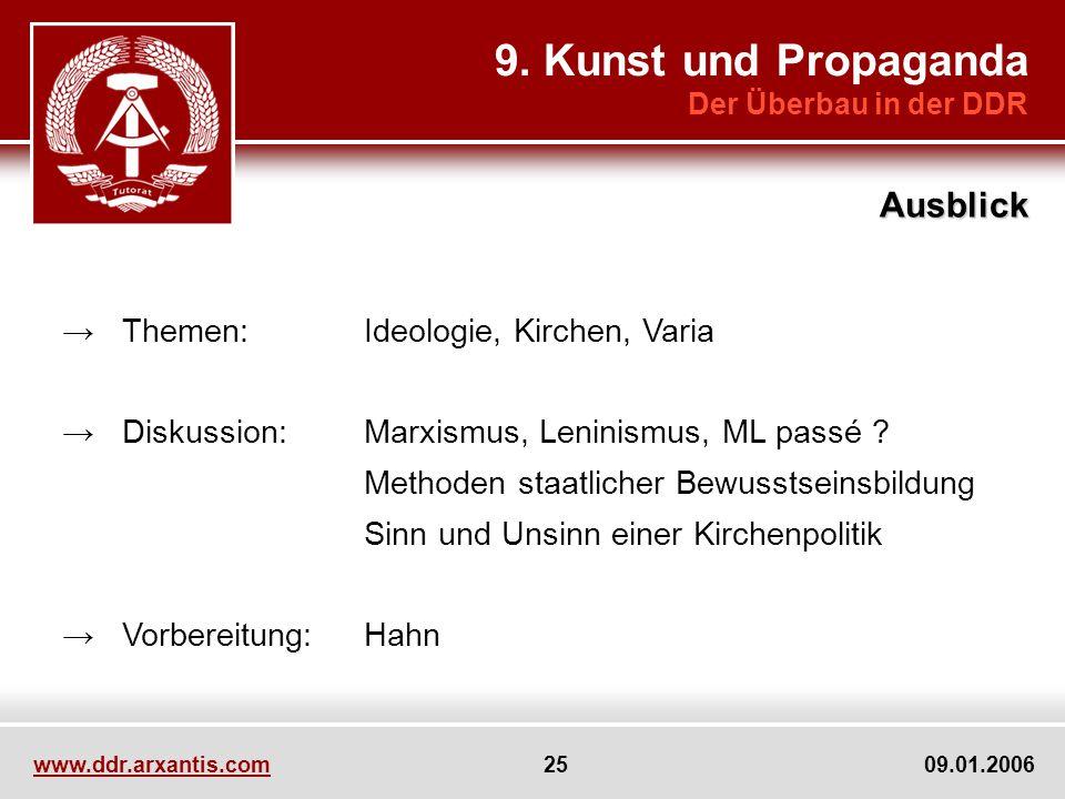 www.ddr.arxantis.com 25 09.01.2006 Themen:Ideologie, Kirchen, Varia Diskussion:Marxismus, Leninismus, ML passé ? Methoden staatlicher Bewusstseinsbild