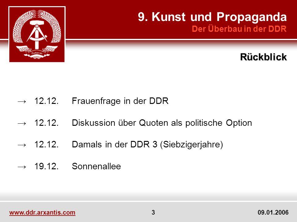 www.ddr.arxantis.com 3 09.01.2006 12.12.Frauenfrage in der DDR 12.12.Diskussion über Quoten als politische Option 12.12.Damals in der DDR 3 (Siebziger