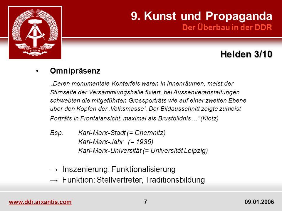 www.ddr.arxantis.com 7 09.01.2006 9. Kunst und Propaganda Der Überbau in der DDR Helden 3/10 Omnipräsenz Deren monumentale Konterfeis waren in Innenrä
