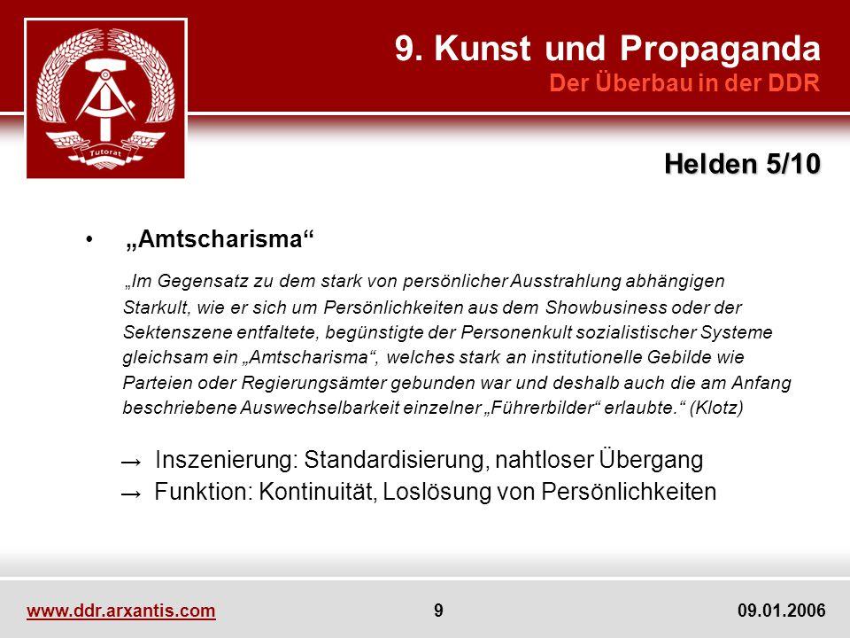 www.ddr.arxantis.com 9 09.01.2006 9. Kunst und Propaganda Der Überbau in der DDR Helden 5/10 Amtscharisma Im Gegensatz zu dem stark von persönlicher A