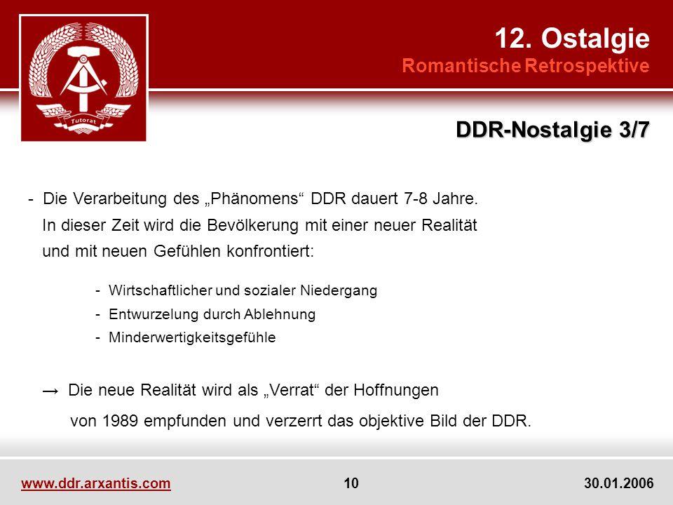www.ddr.arxantis.com 10 30.01.2006 12. Ostalgie Romantische Retrospektive DDR-Nostalgie 3/7 - Die Verarbeitung des Phänomens DDR dauert 7-8 Jahre. In
