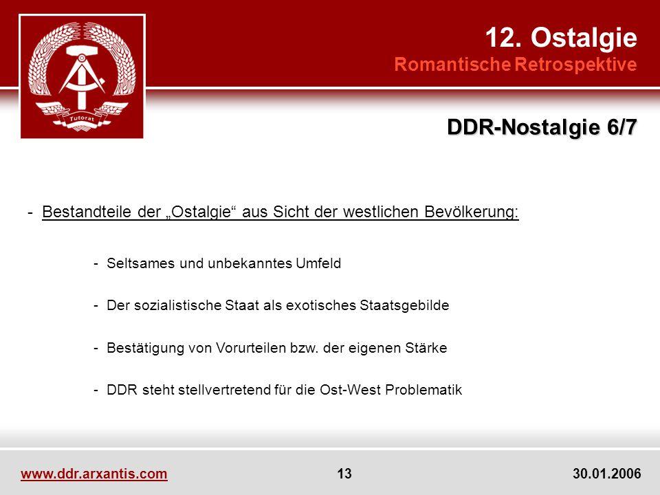 www.ddr.arxantis.com 13 30.01.2006 12. Ostalgie Romantische Retrospektive DDR-Nostalgie 6/7 - Bestandteile der Ostalgie aus Sicht der westlichen Bevöl