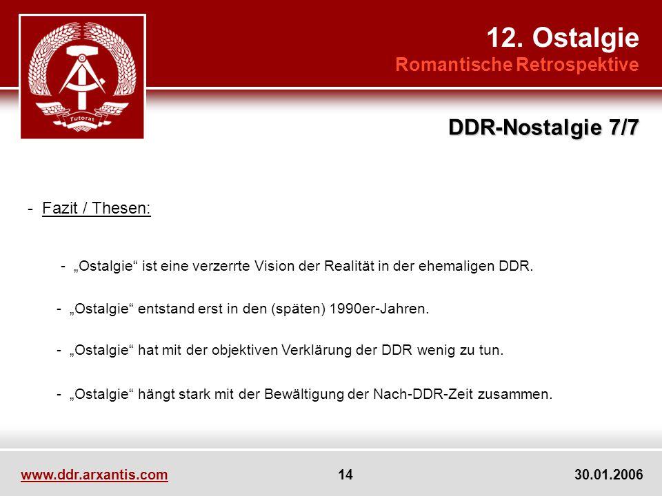 www.ddr.arxantis.com 14 30.01.2006 12. Ostalgie Romantische Retrospektive DDR-Nostalgie 7/7 - Fazit / Thesen: - Ostalgie ist eine verzerrte Vision der