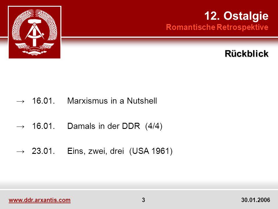 www.ddr.arxantis.com 3 30.01.2006 16.01.Marxismus in a Nutshell 16.01.Damals in der DDR (4/4) 23.01.Eins, zwei, drei (USA 1961) 12. Ostalgie Romantisc