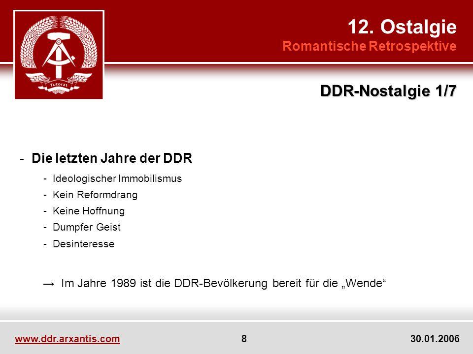 www.ddr.arxantis.com 8 30.01.2006 - Die letzten Jahre der DDR - Ideologischer Immobilismus - Kein Reformdrang - Keine Hoffnung - Dumpfer Geist - Desin