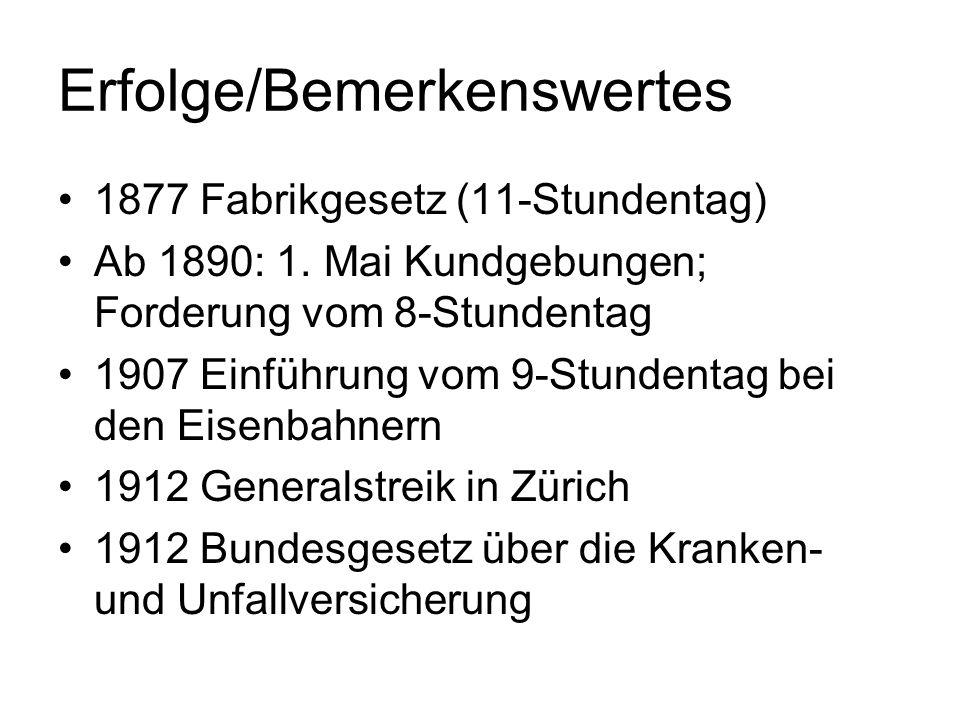 Erfolge/Bemerkenswertes 1877 Fabrikgesetz (11-Stundentag) Ab 1890: 1. Mai Kundgebungen; Forderung vom 8-Stundentag 1907 Einführung vom 9-Stundentag be