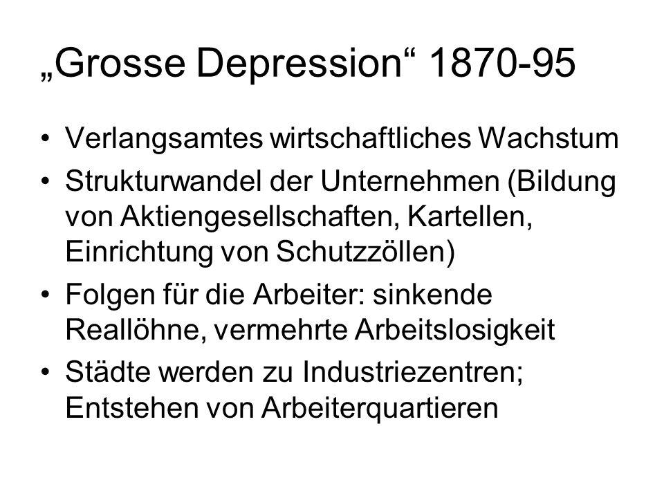 Grosse Depression 1870-95 Verlangsamtes wirtschaftliches Wachstum Strukturwandel der Unternehmen (Bildung von Aktiengesellschaften, Kartellen, Einrich