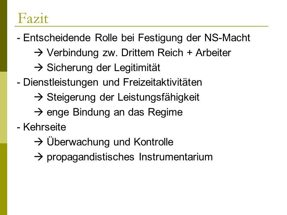 Fazit - Entscheidende Rolle bei Festigung der NS-Macht Verbindung zw. Drittem Reich + Arbeiter Sicherung der Legitimität - Dienstleistungen und Freize