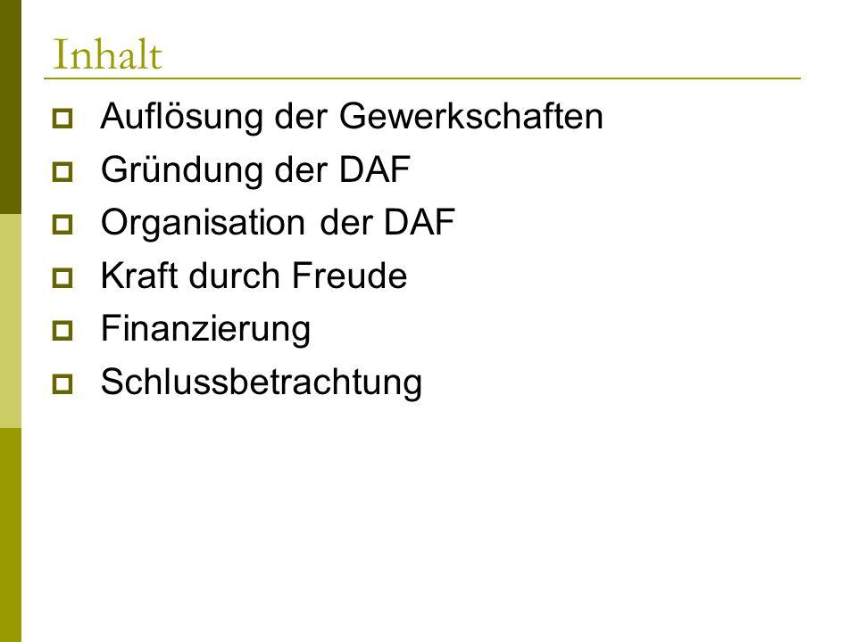Inhalt Auflösung der Gewerkschaften Gründung der DAF Organisation der DAF Kraft durch Freude Finanzierung Schlussbetrachtung