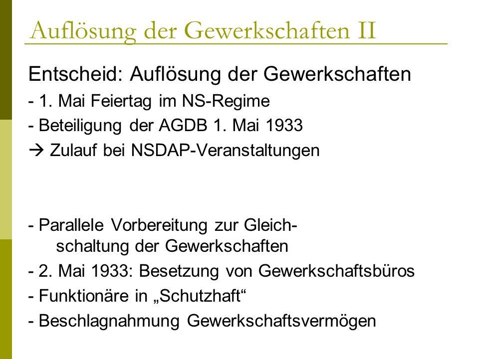 Auflösung der Gewerkschaften II Entscheid: Auflösung der Gewerkschaften - 1. Mai Feiertag im NS-Regime - Beteiligung der AGDB 1. Mai 1933 Zulauf bei N